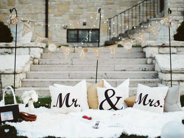 She Said Yes banner over picnic