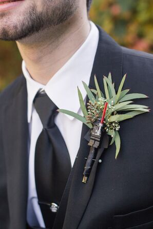 Boutonniere with Darth Vadar Lego Figurine
