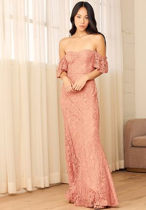 Lulus Adoring Hearts Rusty Rose Lace Off-the-Shoulder Maxi Dress Off the Shoulder Bridesmaid Dress