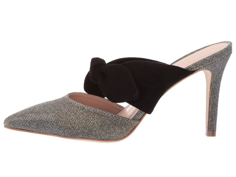 Sparkly wedding heels with black bow