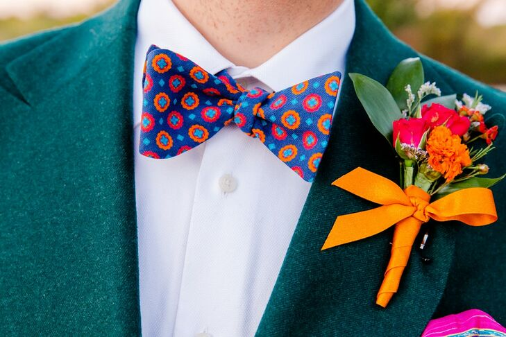 Colorful Patterned Bow Tie and Bright Boutonniere