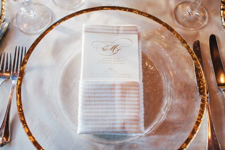Gold Crusted White Plate, Linens and Menu