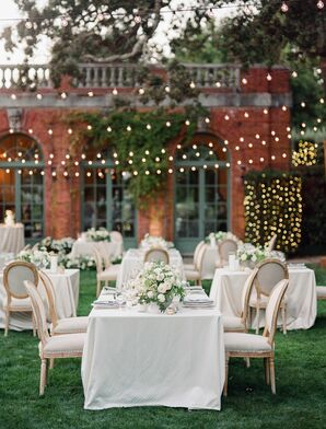 Romantic Neutral-Hued Reception Decor at Filoli Historic House and Garden in Woodside, California
