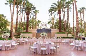 Pink and Gold Outdoor Reception