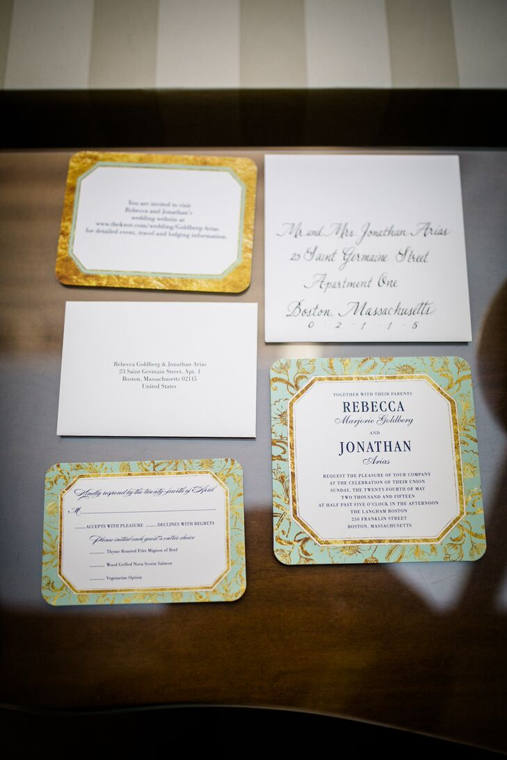 Elegant Mint and Gold Wedding Invitations