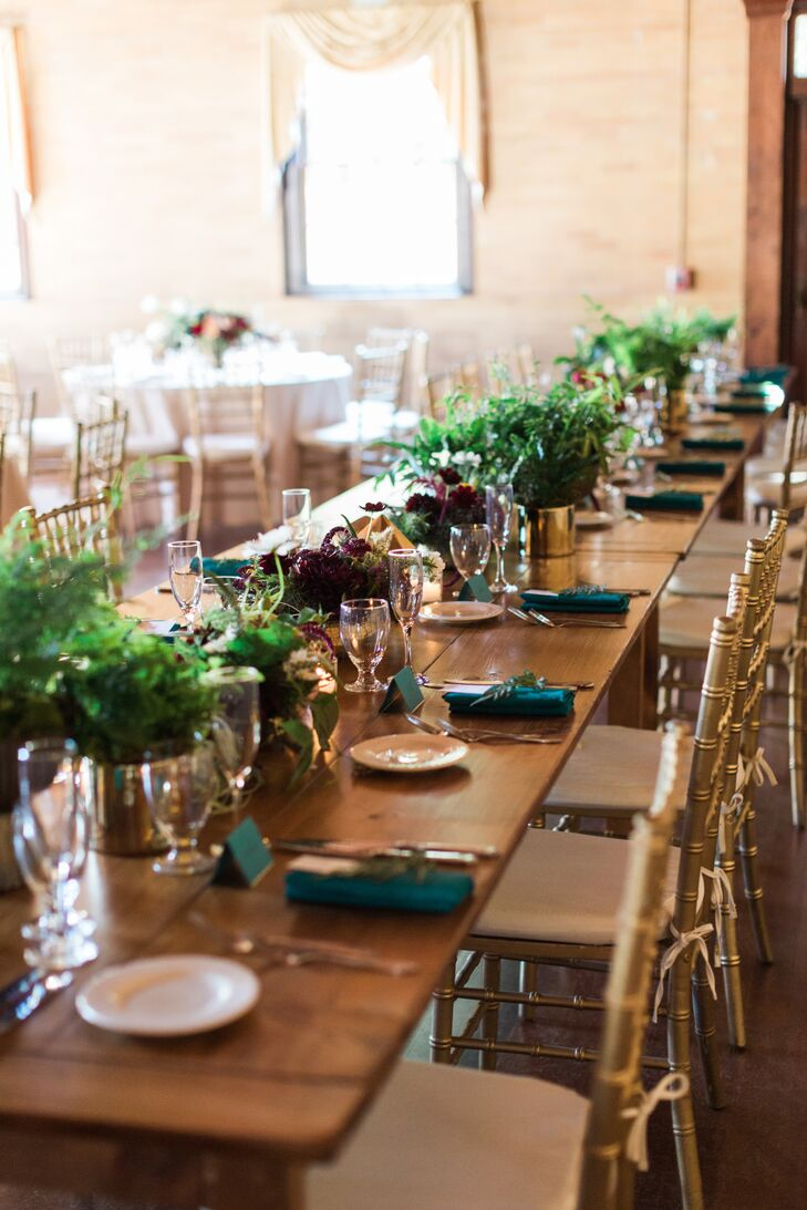 Fern and Plum Wildflower Centerpieces