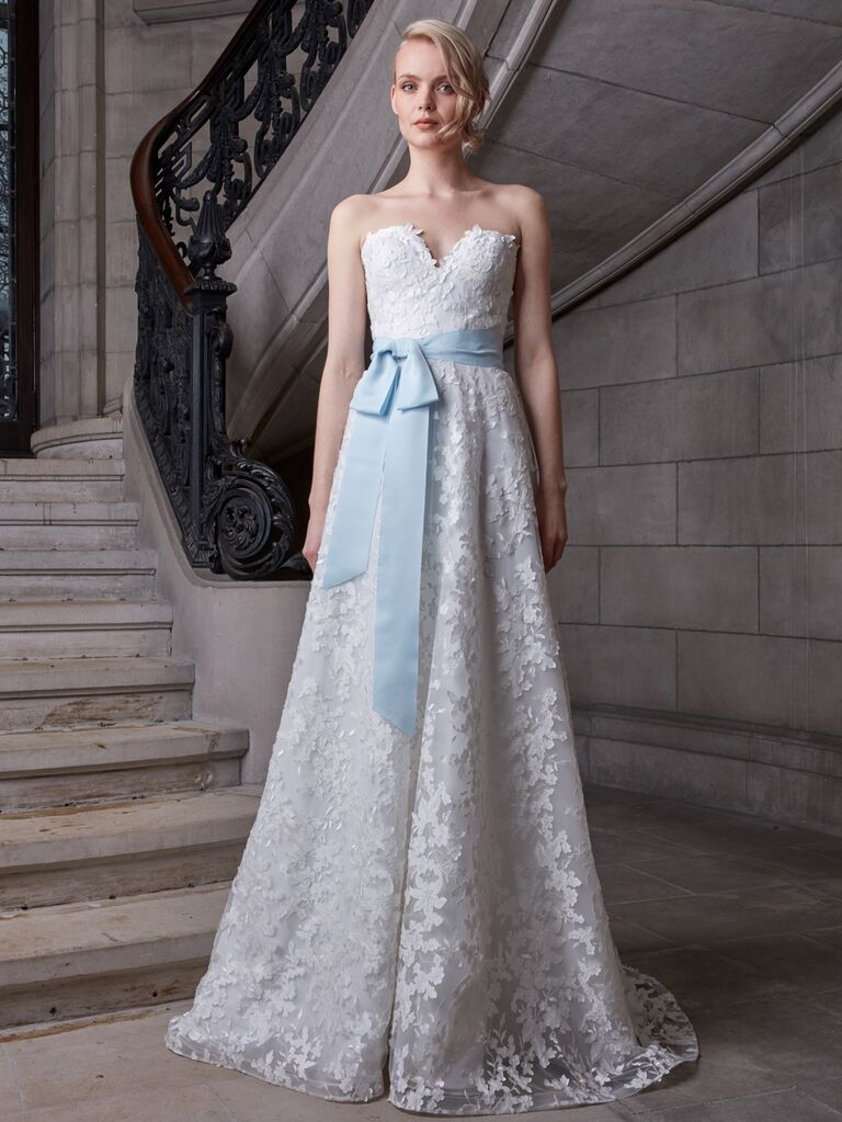 Sareh Nouri Spring 2020 Bridal Collection strapless wedding dress with light blue sash