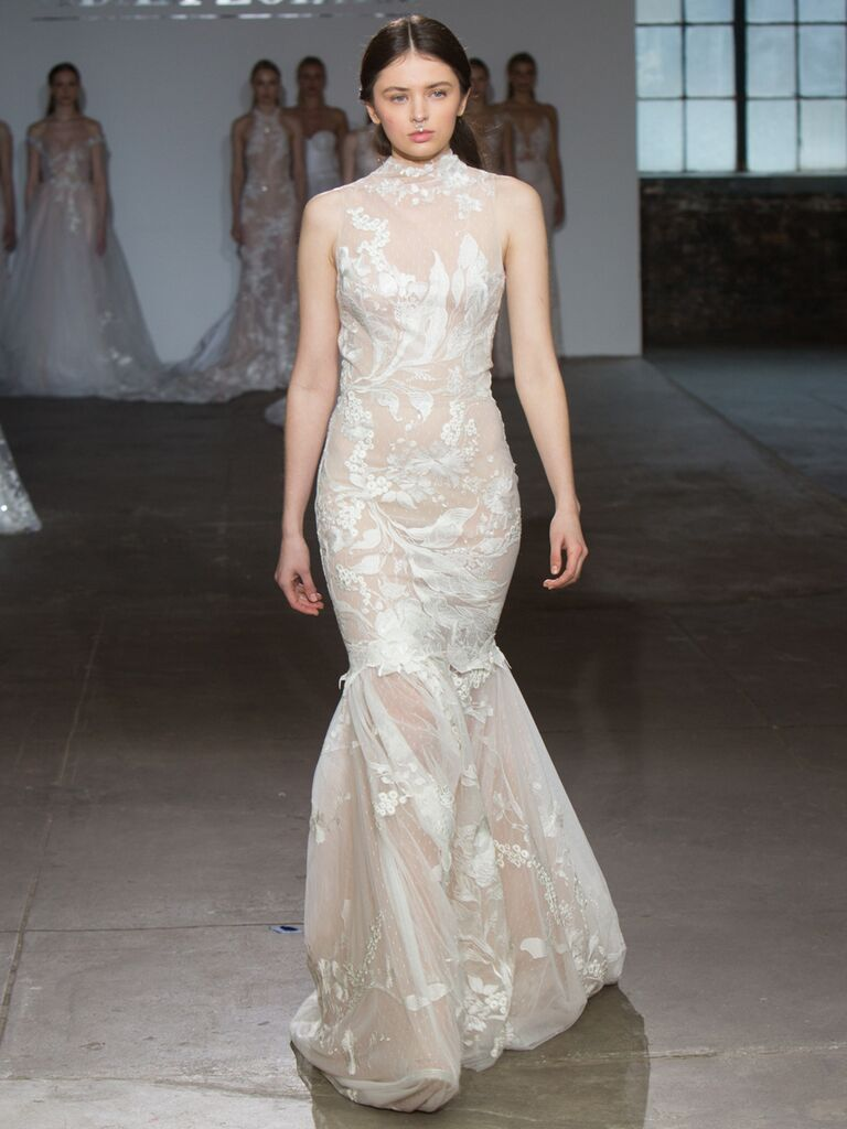 Adam Zohar Spring 2019 Collection high-neck sleeveless mermaid wedding dress