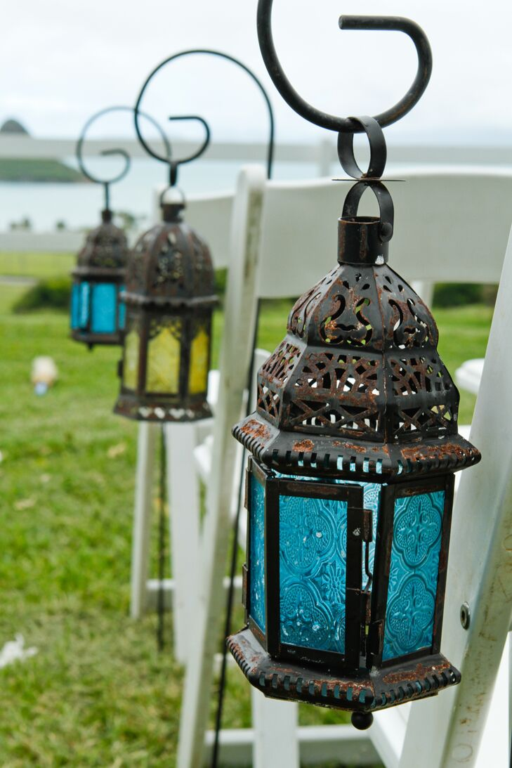 Blue And Yellow Lanterns Guided The Way Down Ceremony Aisle
