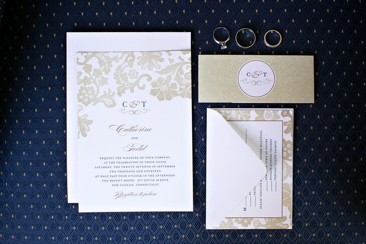Floral Champagne Wedding Invitations