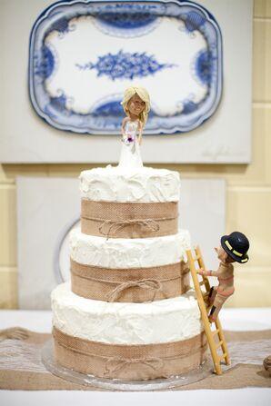Burlap Embellished Buttercream Wedding Cake