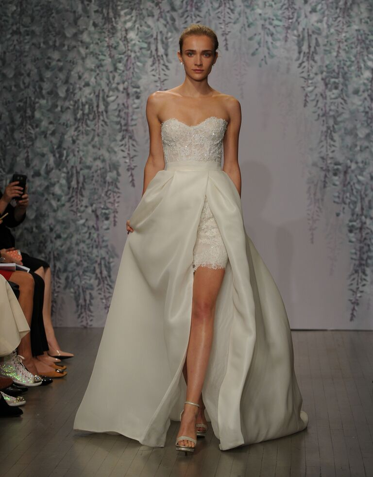 Monique Lhuillier wedding dress Fall 2016 ivory/nude embellished Chantilly lace strapless sweetheart mini dress with silk gazaar overskirt