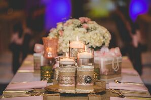 Burlap- and Lace-Wrapped Floating Candles