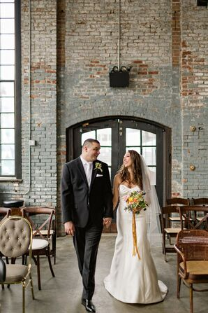 Classic Couple Wearing Black Suit and Trumpet Wedding Dress