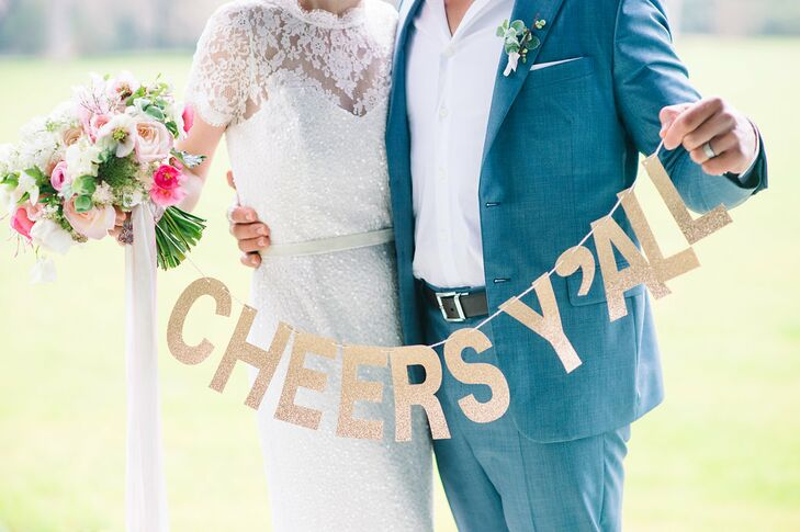 Sparkly Gold 'Cheers Y'All' Wedding Sign