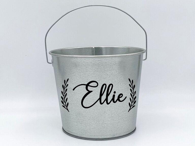 custom pail flower girl basket
