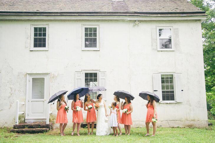 Bridesmaids in Knee Length Coral Dresses