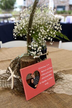 Beach-Inspired Wood, Baby's Breath and Netting Centerpieces