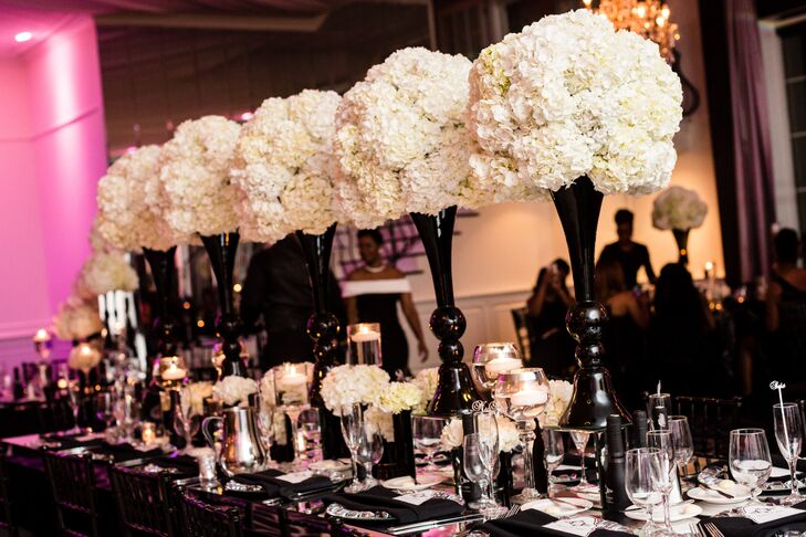 White Hydrangeas in Black Fluted Vases