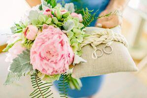Lush, Pink, Floral Ring Pillow