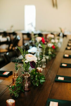 Whimsical Farm Table with Rose Centerpieces in Gold Vases