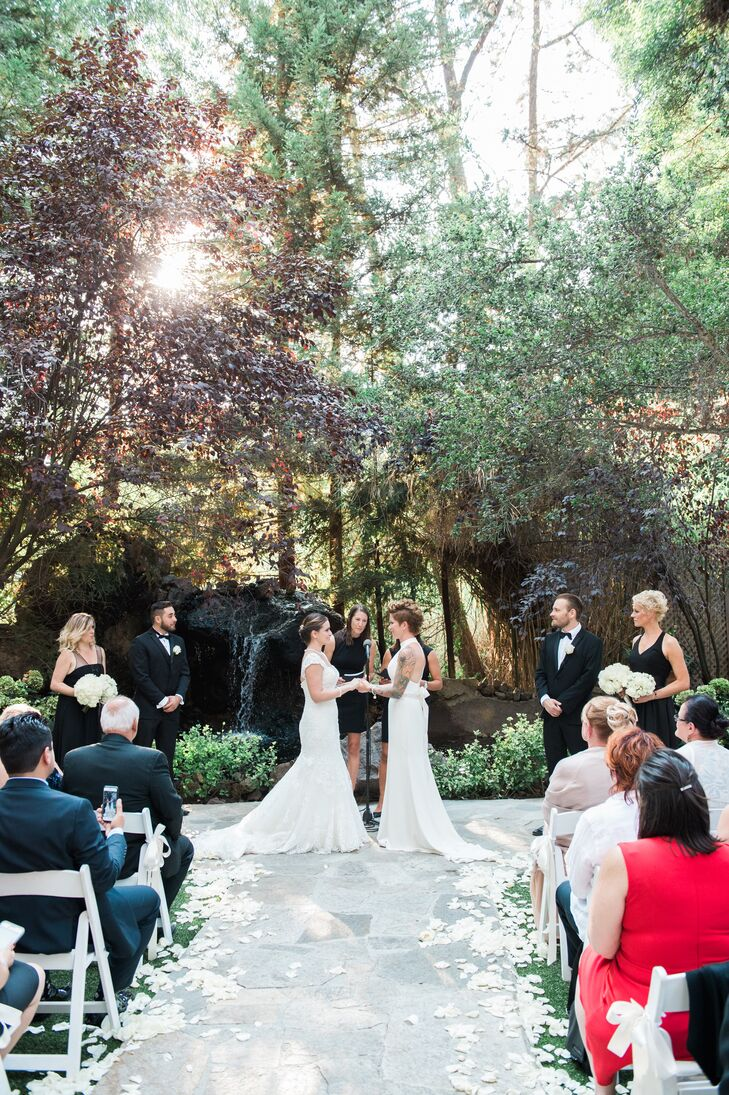"Monika and Virpi said their vows before a gorgeous limestone waterfall and a forest of oak trees on the ranch's garden patio. ""After exchanging our vows, which we wrote ourselves, we sealed the deal with our secret handshake and, of course, a kiss,"" Monika says."