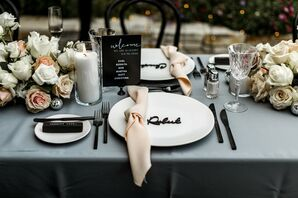 Blue-and-Black Tablescape for Reception at Tehama Golf Club in Carmel-By-The-Sea, California