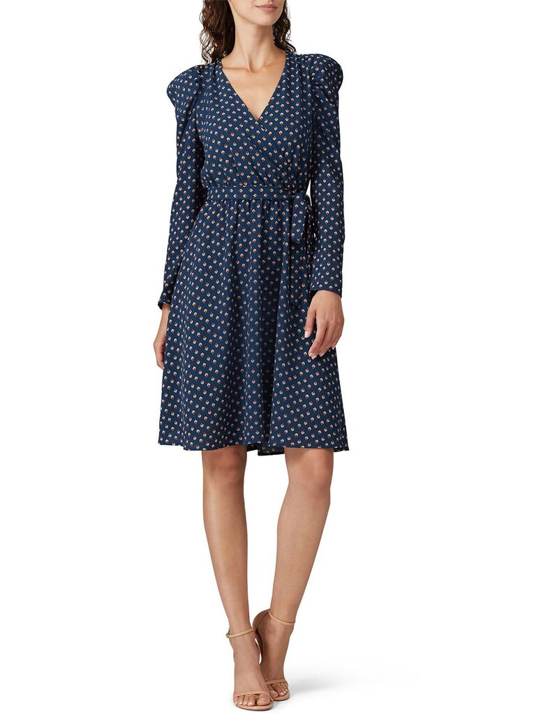 Navy printed dress with puff long sleeves