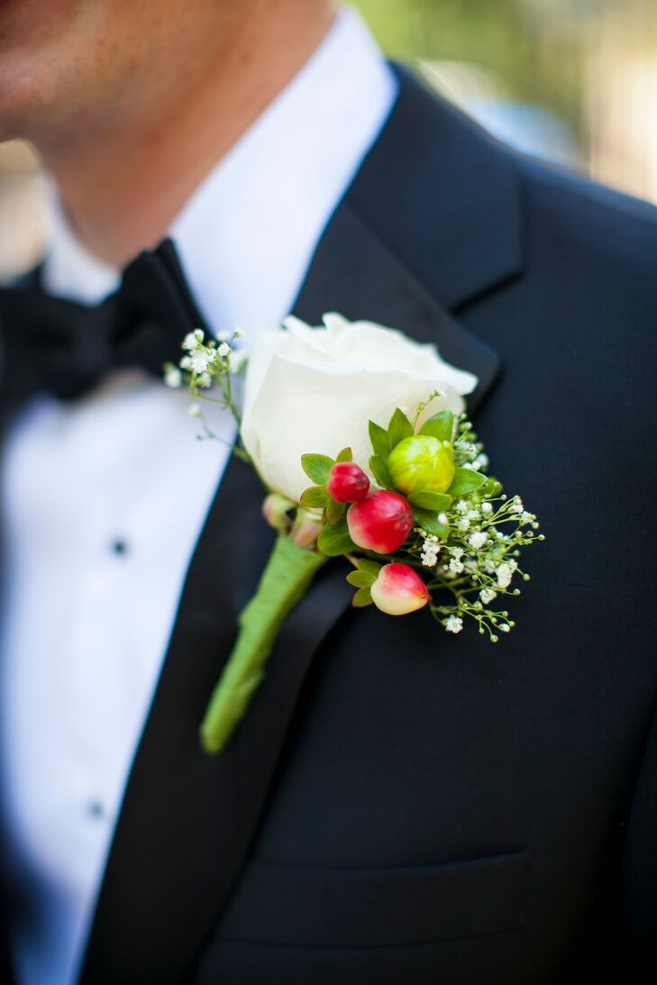Classic White Rose and Hypericum Boutonnieres