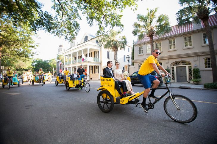 To get their guests from the ceremony to the reception, Helen and Glenn hired a fleet of bike taxis. The unique transportation option allowed the couple's guests to do a bit of sight-seeing.