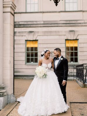 Bride and Groom Outside Anderson House in Washington, D.C.