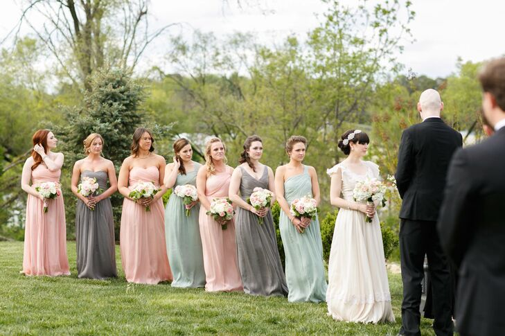 238abb73b8e032 Bridesmaids in Pink, Blue and Gray J. Crew Dresses