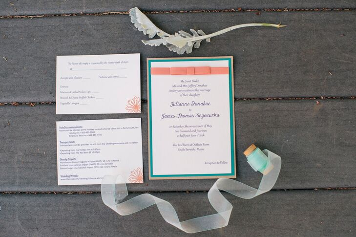 "The couple went with a color palette of persimmon and purple with touches of  turquoise. ""Turquoise was very limited but made it into our invitations and the cards that explaining that we made donations instead of favors,"" says Juli."