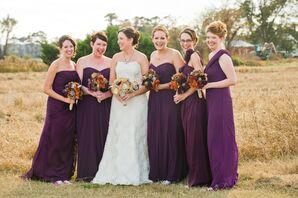 3b876a461a57 Mixed Plum Long Bridesmaid Dresses