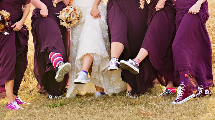 5578e6915fe4 Amber wanted everyone to be comfortable so she and her bridesmaids wore  converse shoes under their
