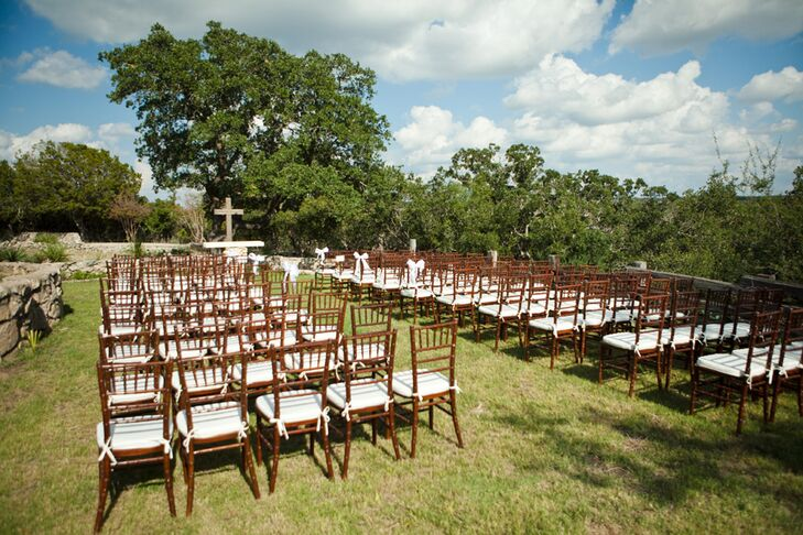 """I knew deep in my heart that the only place I could be married was at my family's ranch,"" says the bride. The groom is an outdoorsman and the couple knew that an outdoor, Hill Country wedding was right for them."
