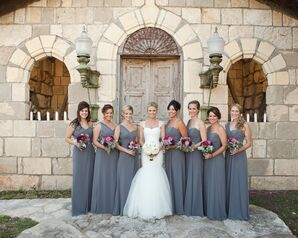 Slate One Shoulder Chiffon Bridesmaids Dresses