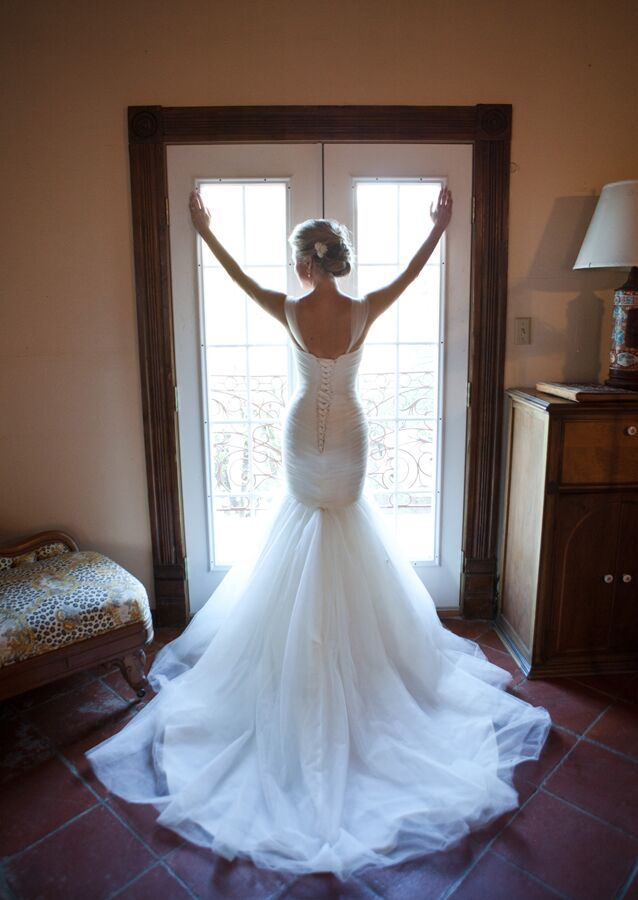 Mermaid Style Wedding Dress with Removable Tulle Cap Sleeves