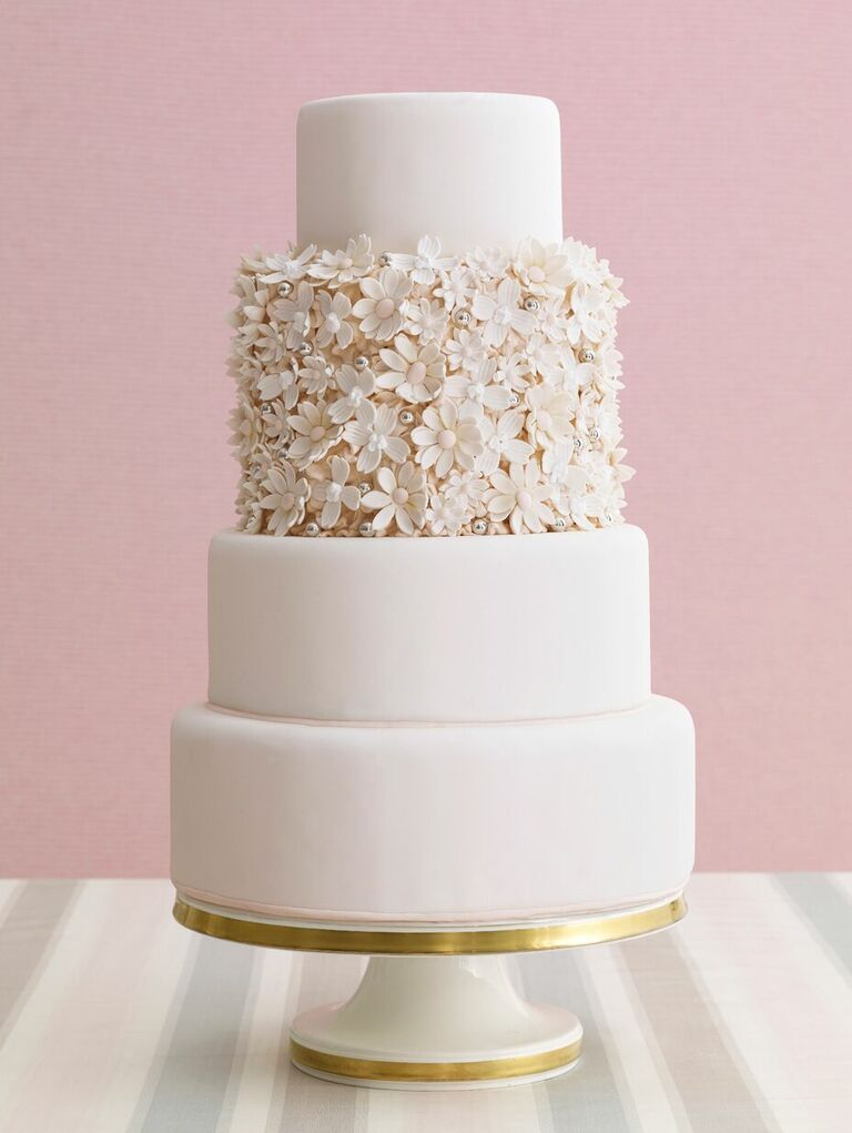 Four-tier wedding cake with texture floral accent tier