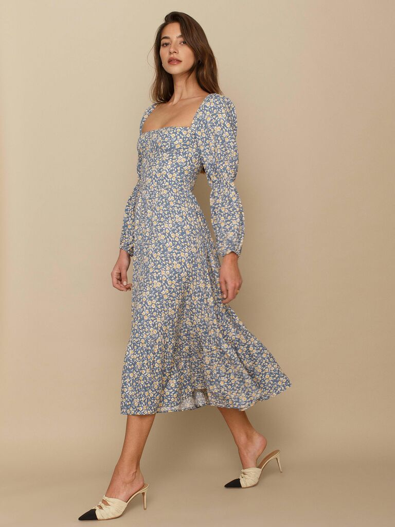blue floral print Reformation midi dress with gathered sleeves
