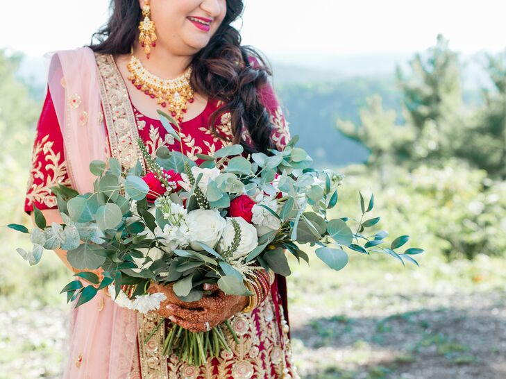 Dramatic Eucalyptus and White Rose Bouquet