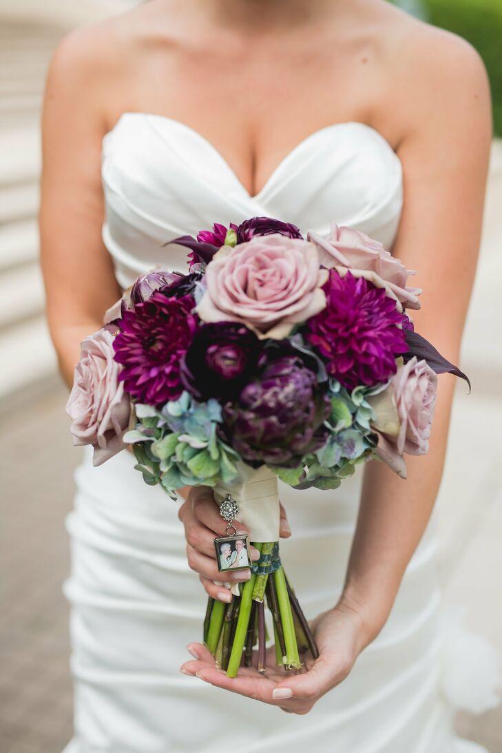 Purple Rose And Dahlia Bouquet