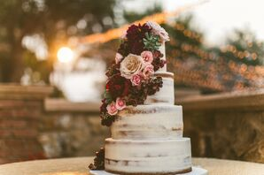 Classic Tiered Cake with Autumn-Inspired Blooms