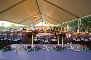 Purple Smoke Bengaline Linen Head Table with Antlers
