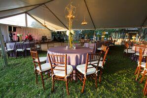 Purple Smoke Bengaline Linens with Mahogany Chiavari Chairs