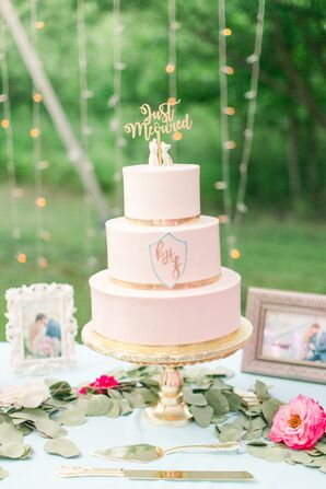 Romantic Blush Wedding Cake with Gold Topper