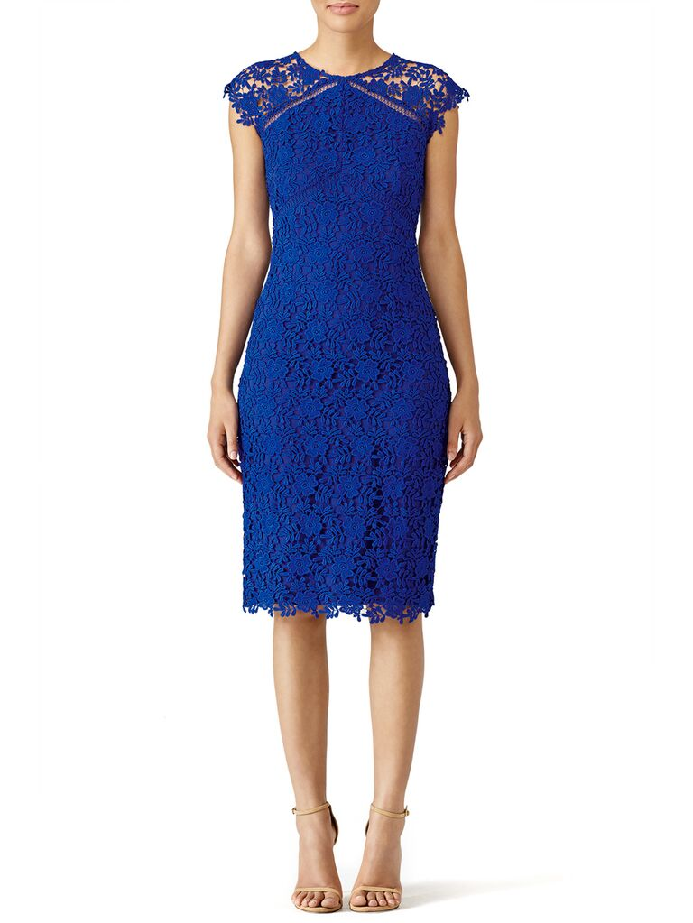 Fitted blue lace midi dress