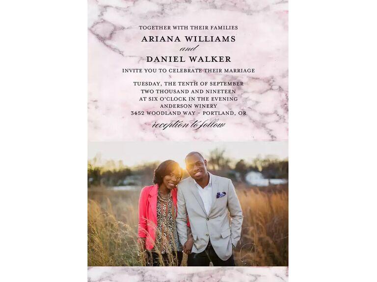 Fall wedding invitation with photo