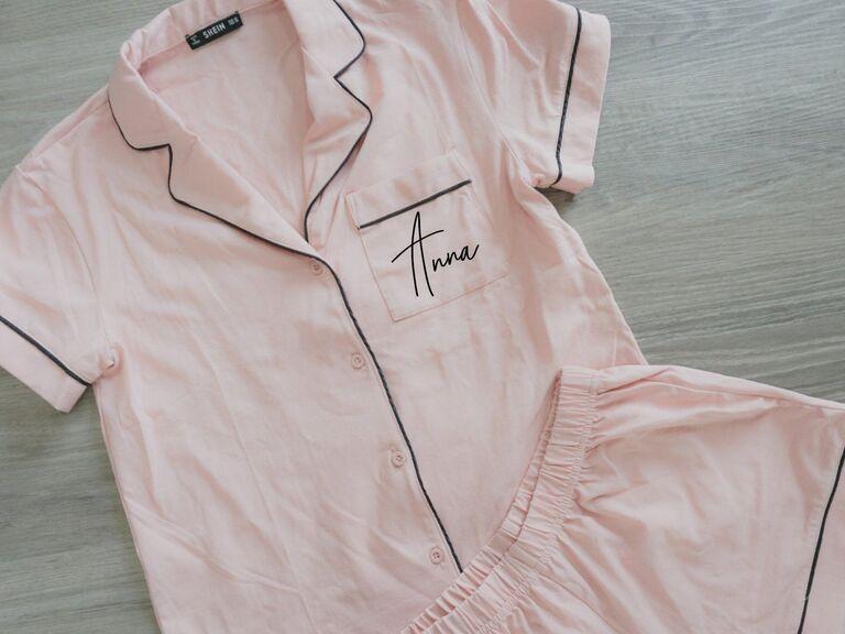 Pink personalized bridesmaid pajamas set