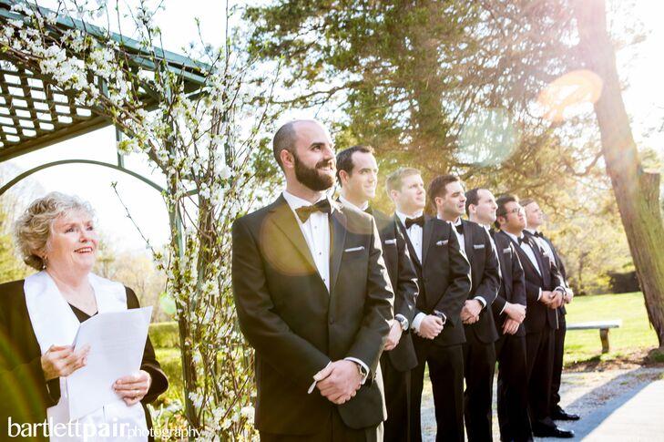 fc28d41e9bf Groom and Groomsmen in Formal Yves Saint Laurent Tuxedos